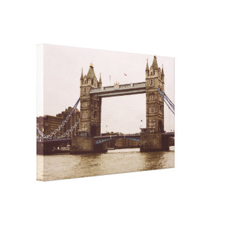 Sepia Tower Bridge, London Photograph Canvas Print