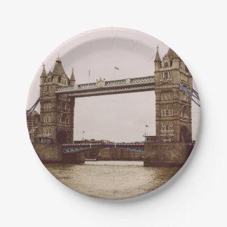 Sepia Tower Bridge, London, United Kingdom 7 Inch Paper Plate