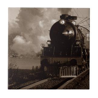 Sepia Train Engine Locomotive Visual Tile Gift