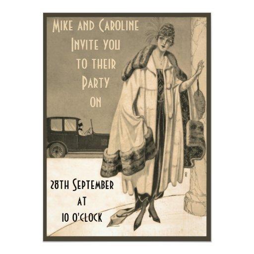 Sepia Twenties Fashion Party Invitation