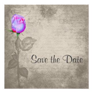 Sepia Vintag Spot Color Rose Save the Date Wedding Custom Invitation