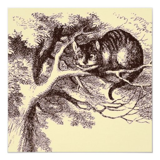 Sepia Vintage Cheshire Cat Alice in Wonderland 5.25x5.25 Square Paper Invitation Card