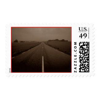 Sepia Vintage Eerie Empty Highway Roadtrip Stamps