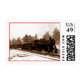 Sepia Vintage Locomotive Engine Train Post Stamps