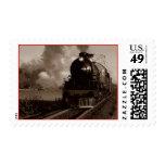 Sepia Vintage Locomotive Engine Train rural Stamps