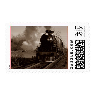Sepia Vintage Locomotive Engine Train rural Stamps