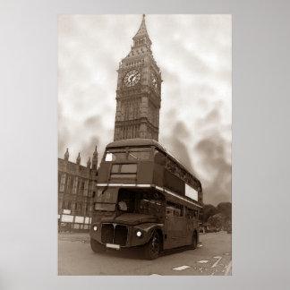 Sepia Vintage London Bus Big Ben Poster