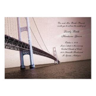"""Sepia Vintage Mackinac Bridge Wedding Invitation 5"""" X 7"""" Invitation Card"""