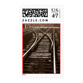 Sepia Vintage RR Train tracks Switch Path Stamps