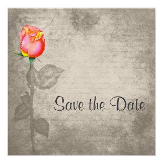 Sepia Vintage Spot Color Peace Rose Save the Date Custom Invitation