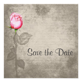 Sepia Vintage Spot Color Pink Rose  Save the Date Personalized Invitation