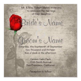 Sepia Vintage Spot Color Red Rosebud Wedding Custom Invites