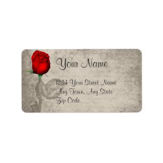 Sepia Vintage Spot Color Red Rosebud Wedding Custom Address Label