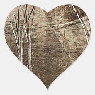 Sepia Waterscape Pegatina En Forma De Corazón