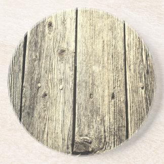 Sepia Weathered Wood Fence Texture Coaster
