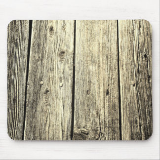 Sepia Weathered Wood Fence Texture Mouse Pad