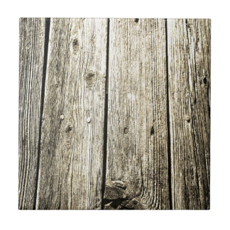 Sepia Weathered Wood Fence Texture Tile