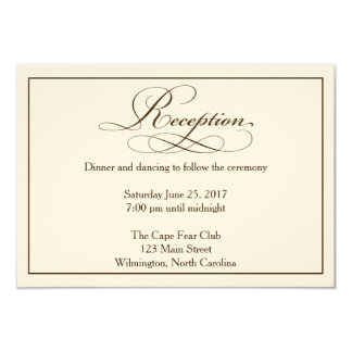Sepia Wedding Reception Details Card