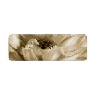 Sepia White Cream Dahlia Background Customized Return Address Labels