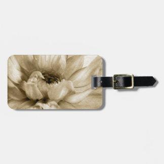 Sepia White Cream Dahlia Background Customized Bag Tags