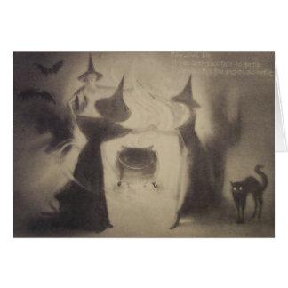 Sepia Witch Bat Night Cauldron Black Cat Card