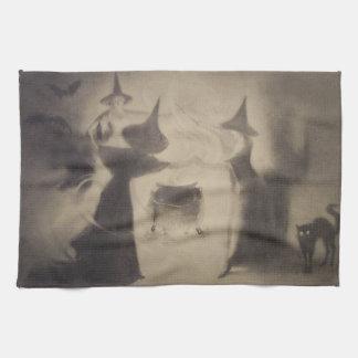 Sepia Witch Bat Night Cauldron Black Cat Hand Towels