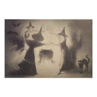 Sepia Witch Bat Night Cauldron Black Cat Photo Print