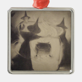 Sepia Witch Night Cauldron Spell Magic Metal Ornament