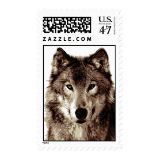 Sepia Wolf Face Postage Stamps