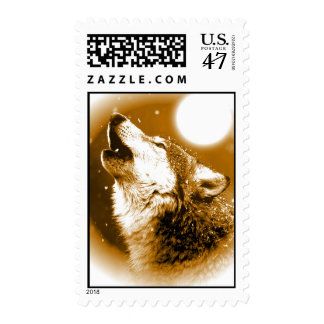 Sepia Wolf & Full Moon Postage