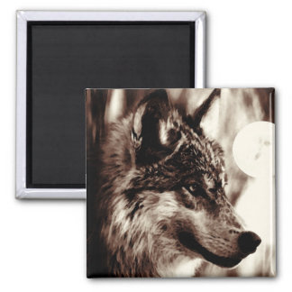 Sepia Wolf & Moon 2 Inch Square Magnet