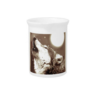 Sepia Wolf & Moon Beverage Pitcher