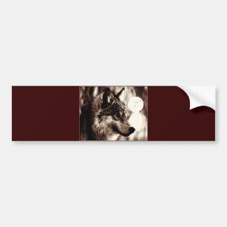 Sepia Wolf & Moon Bumper Sticker