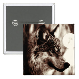Sepia Wolf & Moon Pinback Buttons