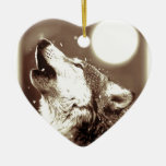 Sepia Wolf & Moon Christmas Ornament