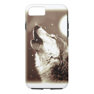 Sepia Wolf & Moon iPhone 7 Case