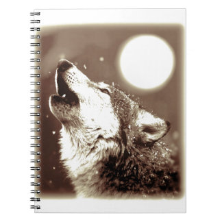Sepia Wolf & Moon Notebook
