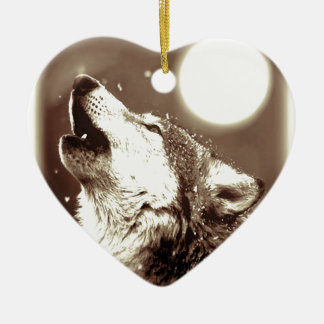 Sepia Wolf & Moon Double-Sided Heart Ceramic Christmas Ornament