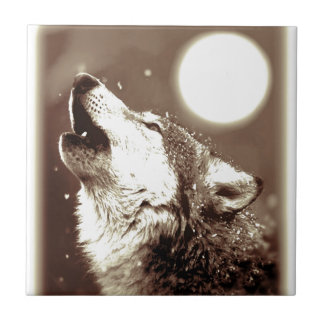 Sepia Wolf & Moon Small Square Tile
