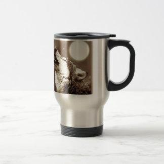 Sepia Wolf & Moon Travel Mug