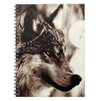 Sepia Wolf Portrait Notebook