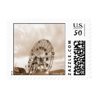 Sepia Wonder Wheel (Coney Is., NY) postcard rate Postage