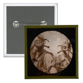 Sepia WWII Gas Mask Girls 2 Inch Square Button