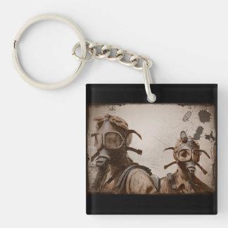 Sepia WWII Gas Mask Girls Single-Sided Square Acrylic Keychain