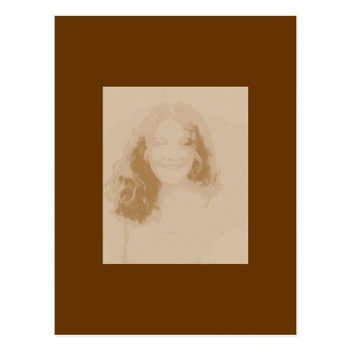 Sepia y Brown del chica del vintage Postal
