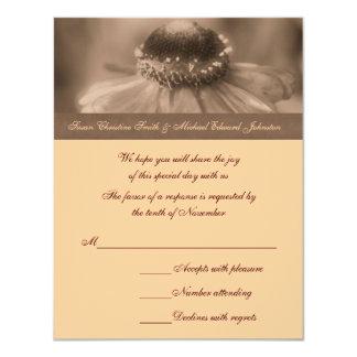Sepia Zinnia Flower Wedding Response RSVP Card