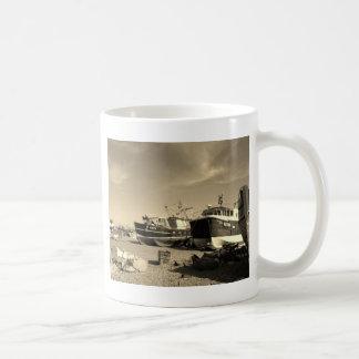 Sepiatone Fishing Boats Coffee Mug