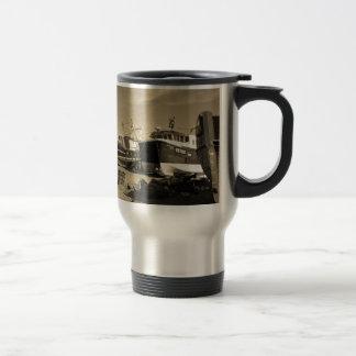 Sepiatone Fishing Boats Travel Mug