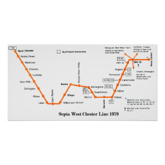 Septa West Chester Line Map 1979 Print
