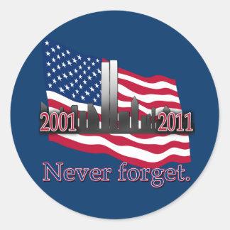 September 11 10 Year Anniversary Tshirt Classic Round Sticker